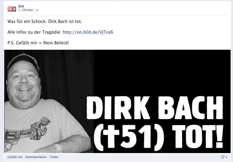 Bild Facebook Posting Tod Dirk Bach